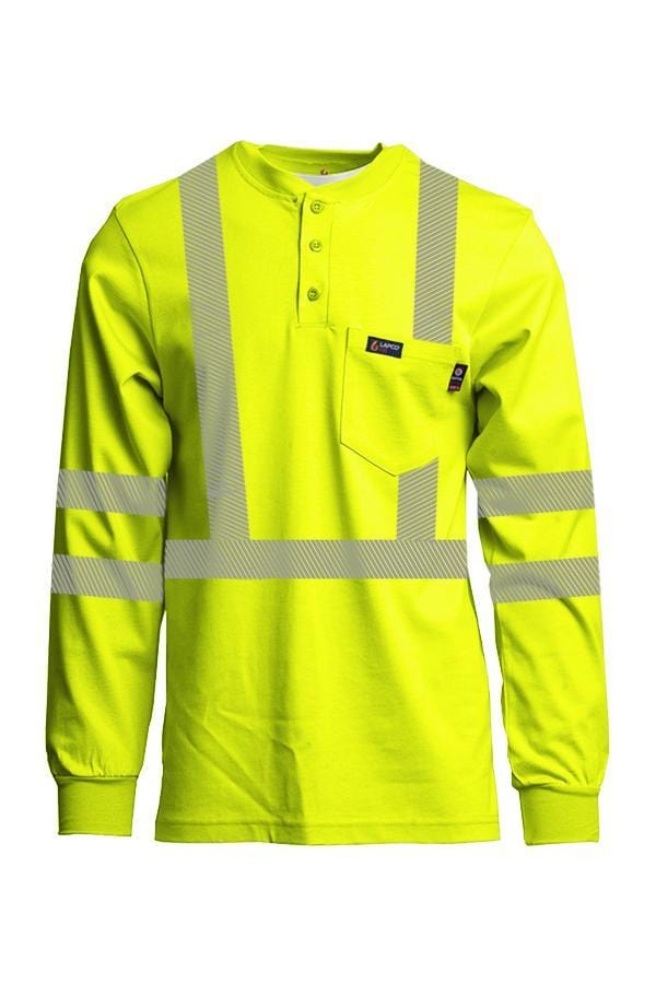 FR Hi-Viz Henley Shirts | 7oz. Inherent Blend | Class 3 - www.lapco.com