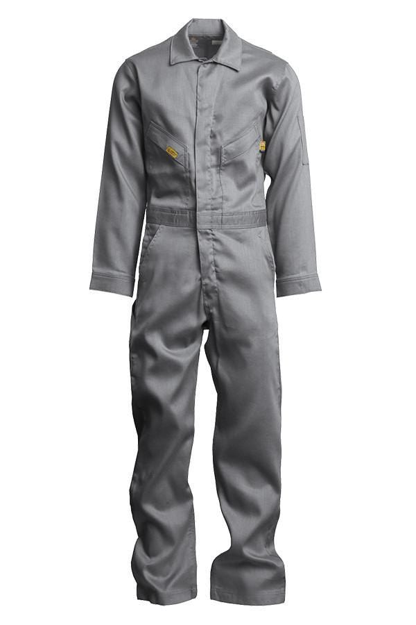 A front view of men's grey Lapco fire resistant lightweight coverall
