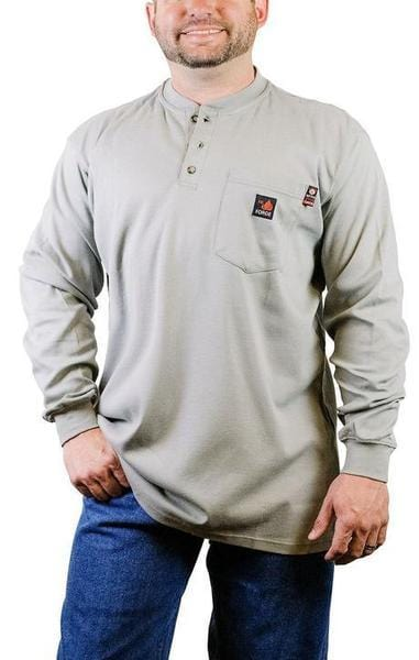 A front view of a man wearing grey Forge fire resistant grey henley shirt