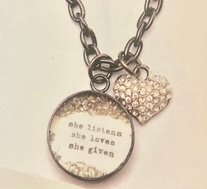 """She listens, She loves, She gives"" Necklace with Glitter Heart Charm"
