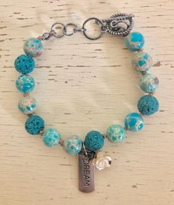 """Dream"" Turquoise Beaded and Hand Knotted Bracelet"