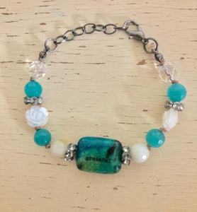 """Grateful"" Turquoise Gemstone and Beaded Bracelet"