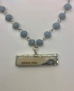 """Inhale Love"" Gemstone Necklace on a Beaded Chain"