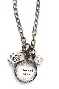 """Blessed Mama"" Large Charm Necklace"