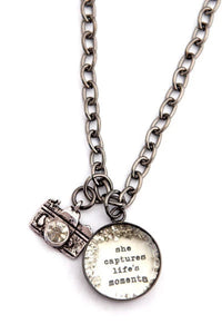 """She Captures Life's Moments"" Small Charm Necklace"