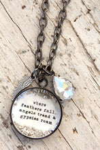 "Load image into Gallery viewer, ""Where feathers fall, angels tread, & gypsies roam"" Large Charm Necklace"