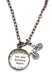 """Let Her Journey Begin"" Small Charm Necklace."