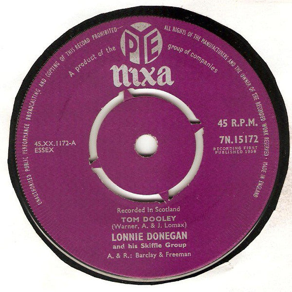 "Lonnie Donegan And His Skiffle Group* : Tom Dooley (7"", Single)"