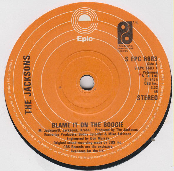 "The Jacksons : Blame It On The Boogie (7"", Single, Sol)"