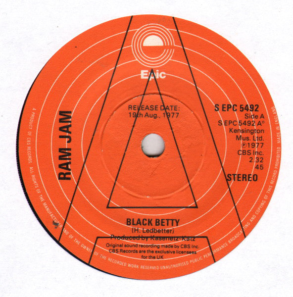 "Ram Jam : Black Betty (7"", Single, Promo)"