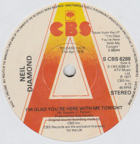 "Neil Diamond : I'm Glad You're Here With Me Tonight (7"", Single, Promo)"