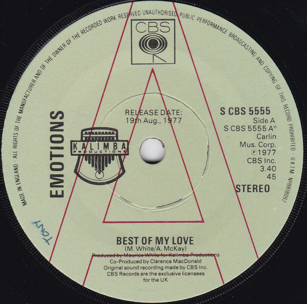 "Emotions* : Best Of My Love (7"", Single, Promo)"
