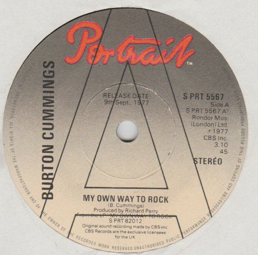 "Burton Cummings : My Own Way To Rock (7"", Single, Promo)"