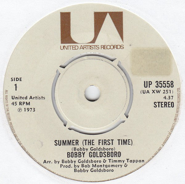 "Bobby Goldsboro : Summer (The First Time) (7"", Single)"