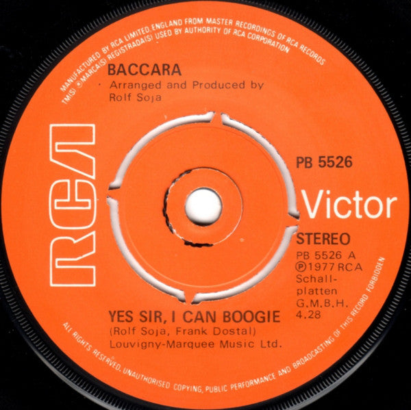 "Baccara : Yes Sir, I Can Boogie (7"", Single, Kno)"