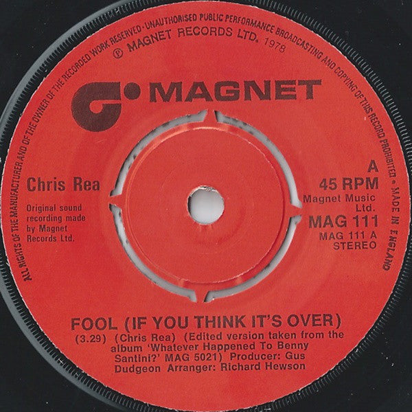 "Chris Rea : Fool (If You Think It's Over) (7"", Single)"