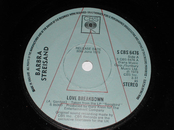 "Barbra Streisand : Love Breakdown (7"", Promo)"