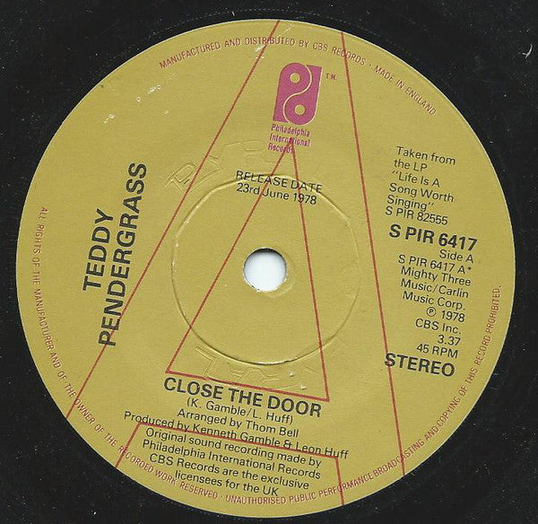 "Teddy Pendergrass : Close The Door / Get Up, Get Down, Get Funky, Get Loose (7"", Single, Promo)"