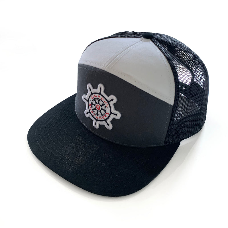 Trucker Hat - Charcoal/White/Black Mesh - Flat Brim