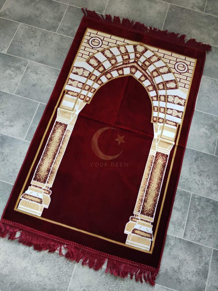 Adult Prayer Mat (Red & Gold)