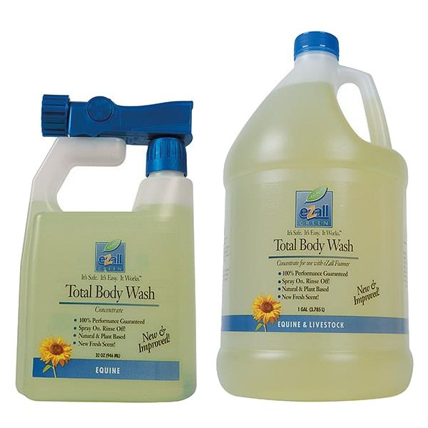 eZall Equine & Livestock Green Body Wash For Fungus and Mites - Fresh Scented - (32 Oz/1 Gal) - Animal Health Express