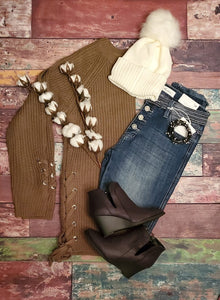Olive- Love it Laced Knit Sweater