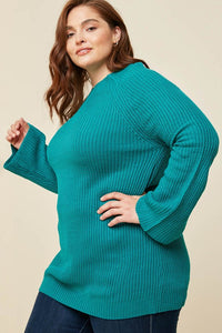 Emerald Knit Bell Sleeved Sweater