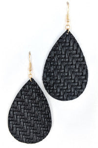 Black Braided Teardrop Earring