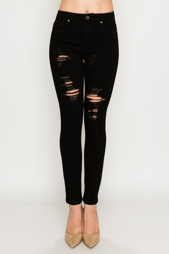 Count Me In Black Distressed Skinny