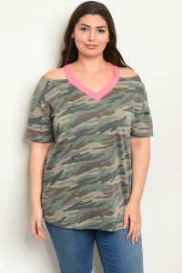 Camo and Neon Cold Shoulder
