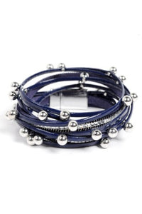 Navy Leather Beaded Wrap