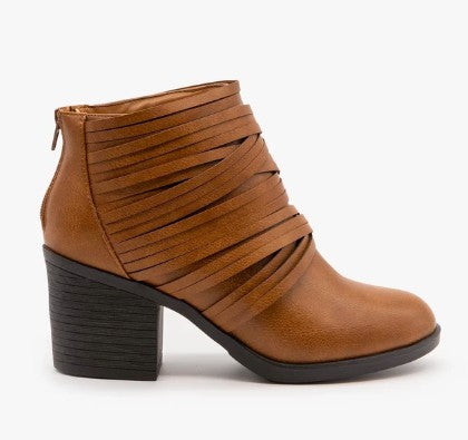 Strappy Camel Bootie