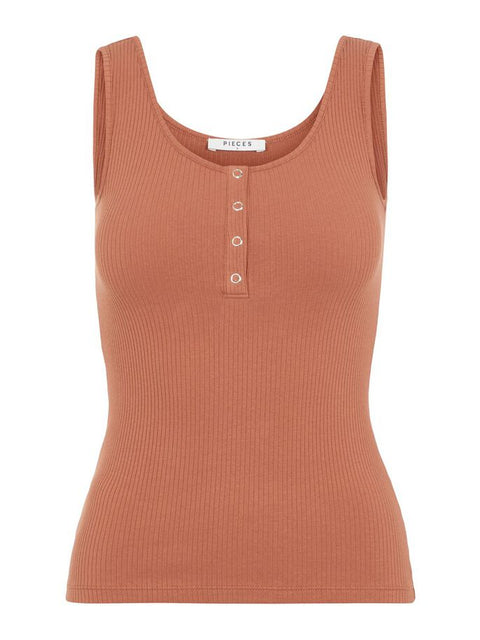 PCKITTE TANK TOP COPPER BROWN