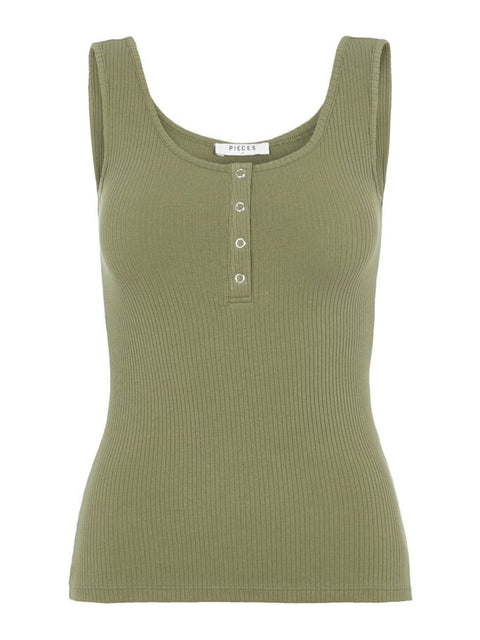 PCKITTE TANK TOP DEEP LICHEN GREEN
