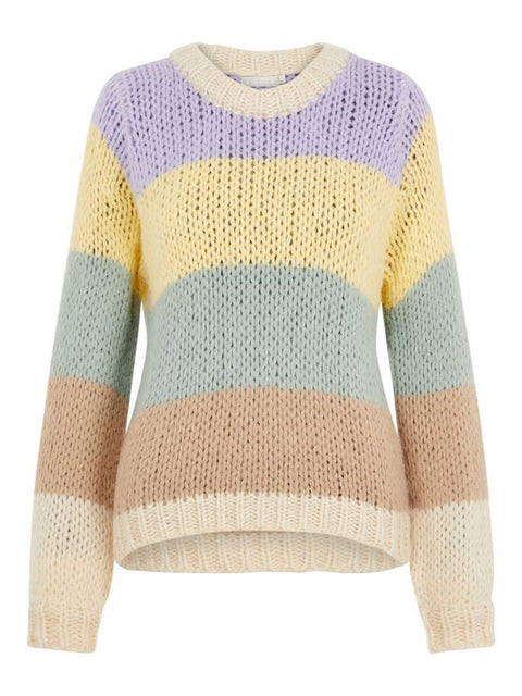 PcSiri Ls O-Neck Knit Whitecap Gray/Lavender