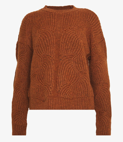 YasDalia Ls Knit Pullover Bombay Brown
