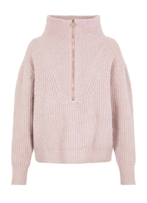 YasMarilyn Ls Zip Knit Pullover