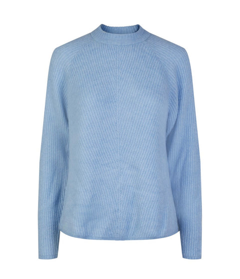 Yasallu Ls O-Neck Knit Pullover Powder Blue