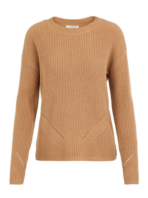PcKarie LS O-Neck Knit Sand