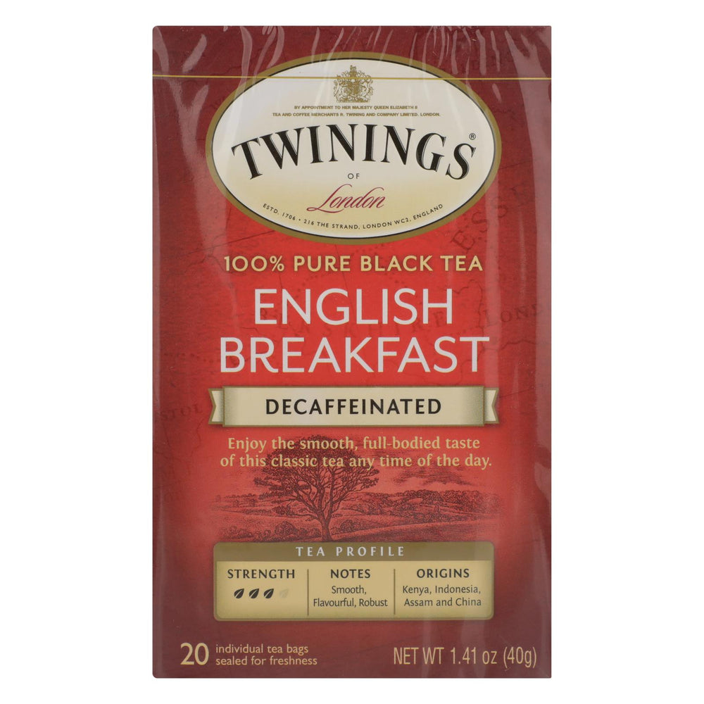 Twining's Tea Breakfast Tea - English, Decaffeinated - Case Of 6 - 20 Bags