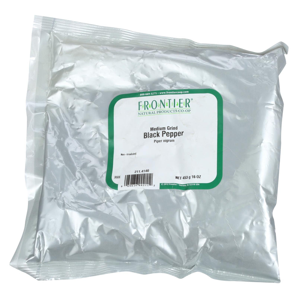 Frontier Herb Pepper - Black - Medium Grind - Dustless - 30 Mesh - Bulk - 1 Lb