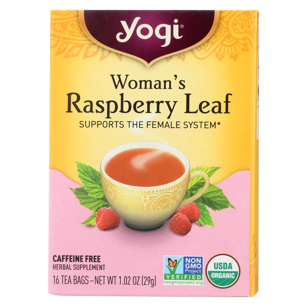 Yogi Organic Woman's Herbal Tea Raspberry Leaf - 16 Tea Bags - Case Of 6