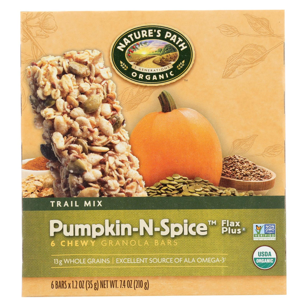 Nature's Path Organic Flax Plus Granola Bar - Pumpkin-n-spice - Case Of 6 - 7.4 Oz.