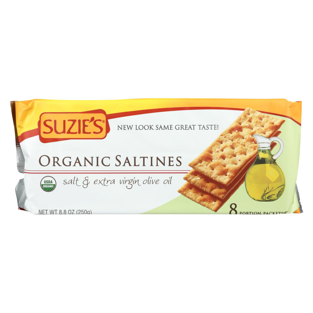 Suzie's Organic Saltines - Salt And Extra Virgin Olive Oil - Case Of 12 - 8.8 Oz.