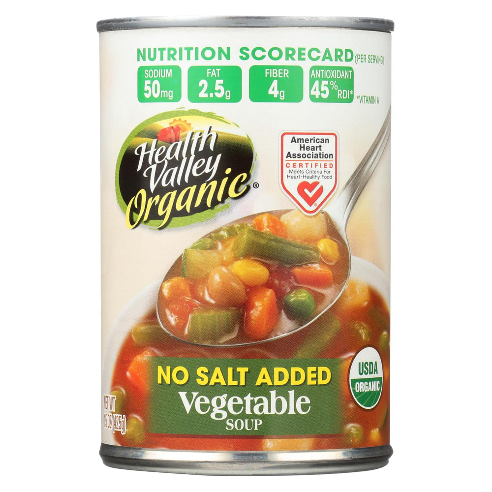 Health Valley Organic Soup - Vegetable, No Salt Added - Case Of 6 - 15 Oz.