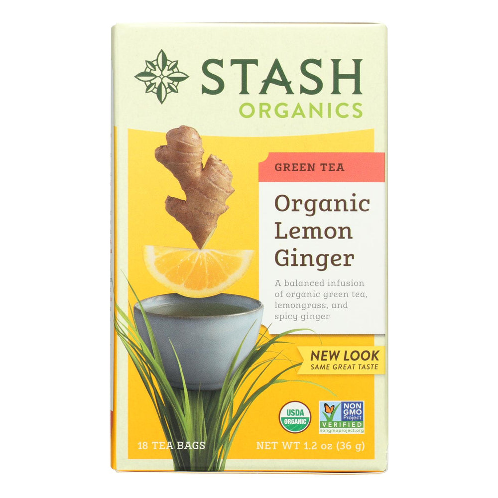 Stash Tea Organic Green Tea - Lemon Ginger? - Case Of 6 - 18 Bags