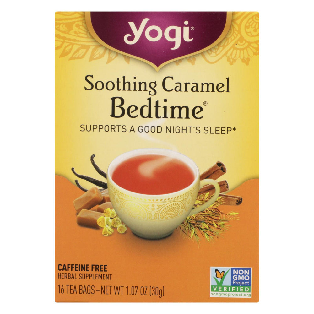Yogi Bedtime Herbal Tea Caffeine Free Soothing Caramel - 16 Tea Bags - Case Of 6