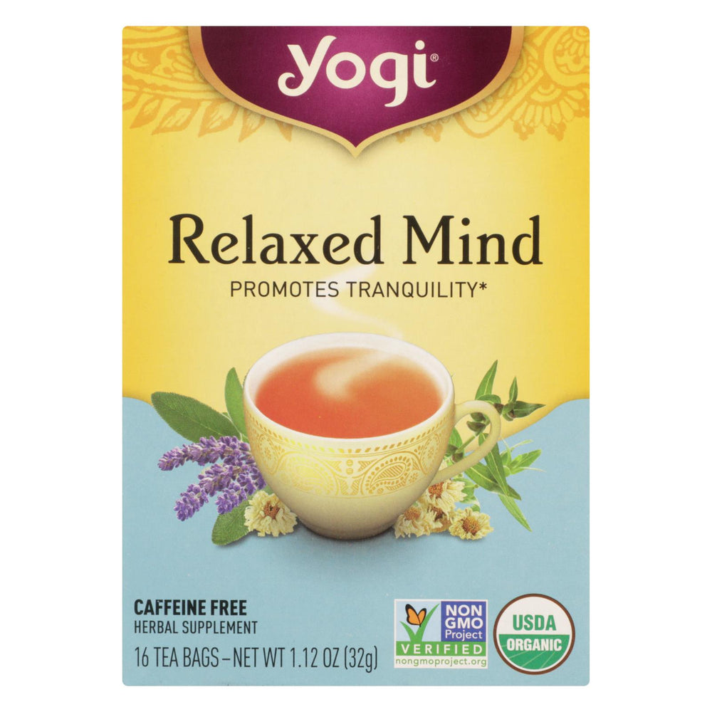 Yogi Relaxed Mind Herbal Tea Caffeine Free - 16 Tea Bags - Case Of 6