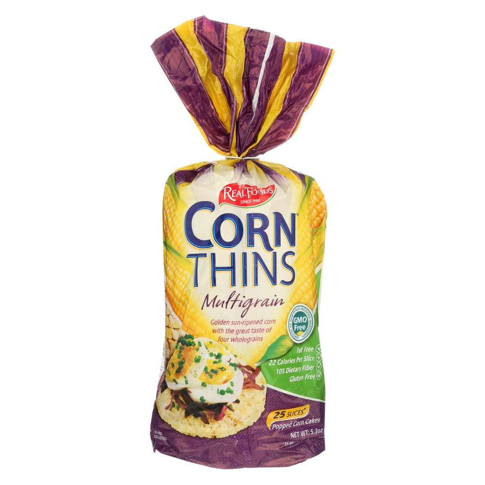 Real Foods Organic Corn Thins - Multigrain - Case Of 6 - 5.3 Oz.