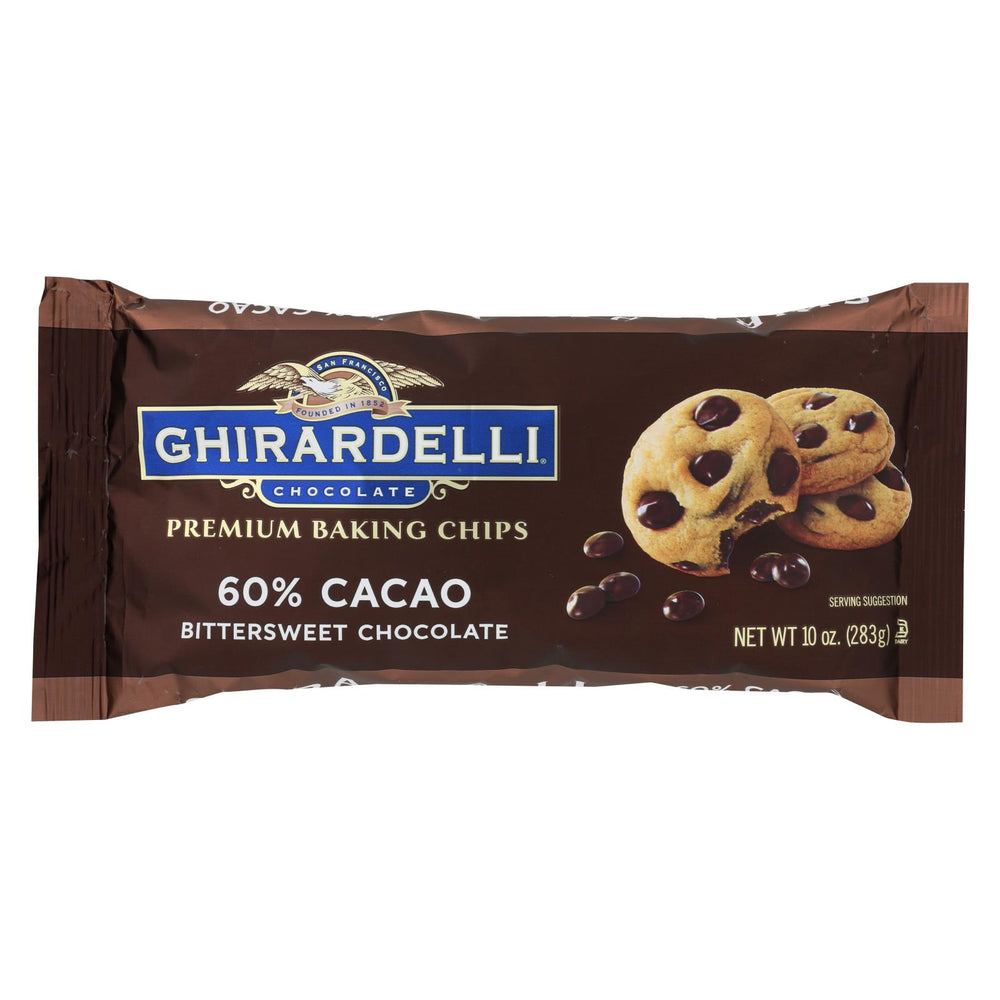 Ghirardelli Cacao Bittersweet - Chocolate Baking Chips - Case Of 12 - 10 Oz.